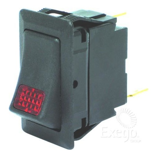 Rocker switch on/off red light 24v
